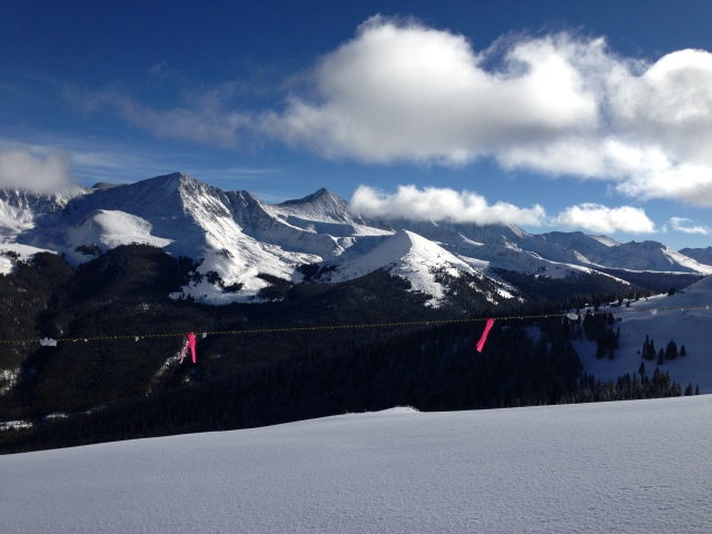Copper Mt. 16 Jan. Top of Super Bee lift.  Looking east at Ten Mile Range.