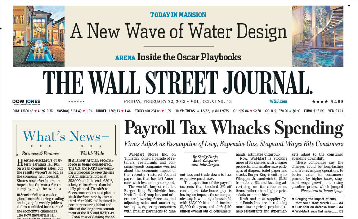 SHAME on the Wall Street Journal re: Payroll Tax Whacks Spending ...