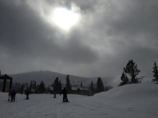 The top of Parsenn Bowl, above 12,000 feet, and the Panoramic lift is in the distance.