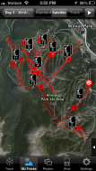 My tracks around the ski resort.