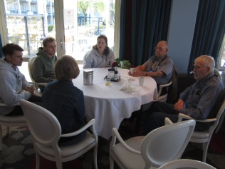 Early arrivers l. to r.: M'lady Nancy (back), Vincent, Ben (both Belgians), Esther (Dutch), 104th WWII veterans Bill and Tom.
