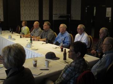 Nancy, Bill, John's son (sorry!), John, Harvey, Tom, Bob (Timberwolf WWII veteran, as are John and Tom), Terri, Renee.