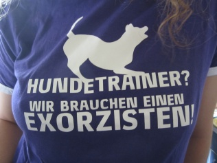 "Mareike trains dogs. Her shirt says ""Dog trainer? We need an exorcist!"""
