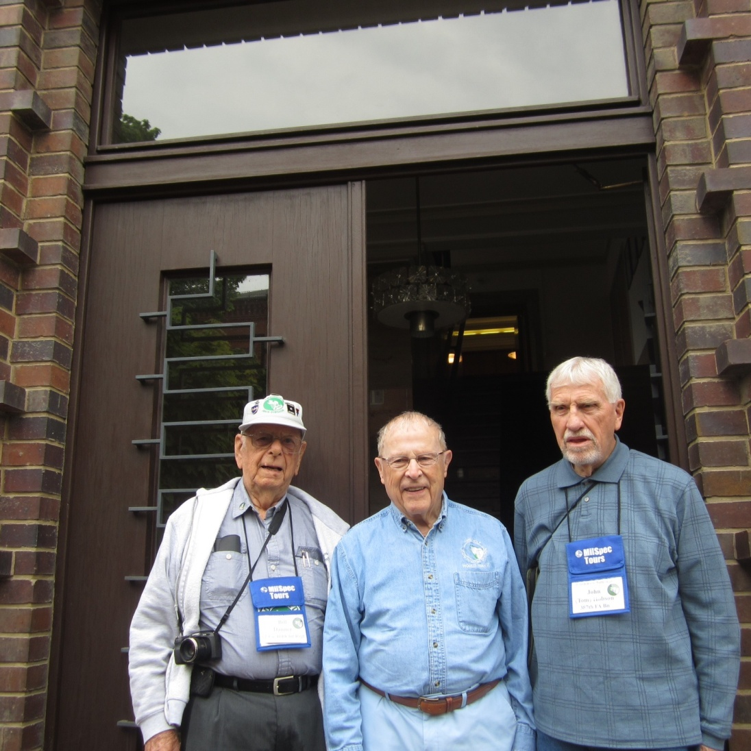Our three WWII vets in the doorway. Bill, Bob, and Tom.