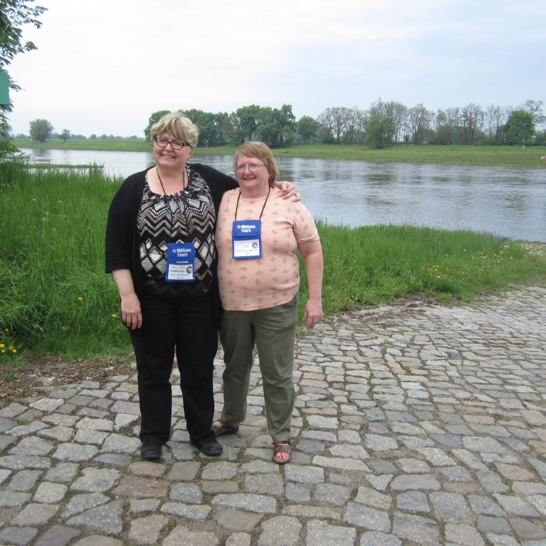 Mary and Julia at the Elbe River crossing (not the Mulde).