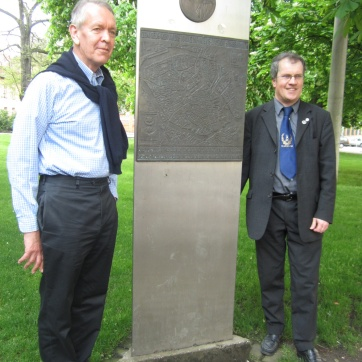 Tour guide Patrick and Matthias. Matthias has been a driving force in getting recognition, plaques, and monuments for the Timberwolves/Halle negotiations. We appreciate his friendship and hard work.