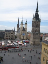 View from the 7th floor of a nearby store. Two back-to-back churches with two spires each were combined for one church with 4 spires.