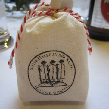 We each receive a gift of Halle salt. It's very salty. I like it!