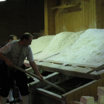 After dinner we have a demonstration of how the salt is produced from brine. They hand-produce about 80-90 tons a year and sell it quite reasonably, in my opinion. I buy extra to take home.