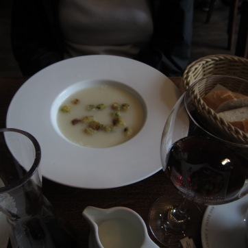 WE have our priorities. M'lady has mushroom soup.