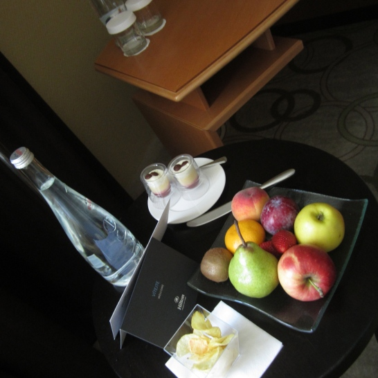 Hilton Old Town Prague. Courtesy tray due to m'lady's hard-earned business status.