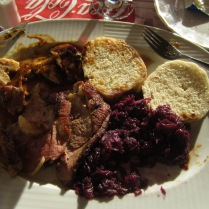 My more modest repast, duck. A little tough but I love duck anyway. The red cabbage, which I usually don't care for, is sweet and consumable by me with a bit of salt.