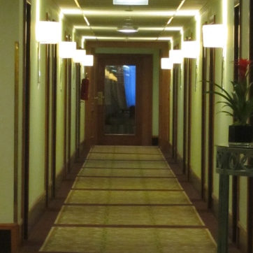 Our 8th floor room hallway to the Executive Lounge, free drinks and breakfast.