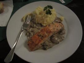 Salmon and a stroganoff-style mushroom sauce.