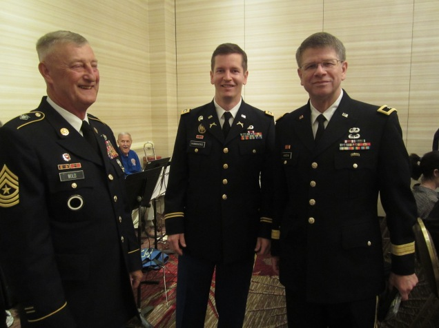 L-R: Cmd. Sgt. Major (Ret.), Lt. Col., Brig. General.