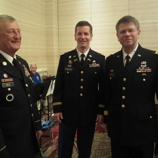 L-R: Cmd. Sgt. Major (Ret.), Lt. Col., Brig. General.