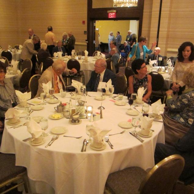 Banquet crowds gather.