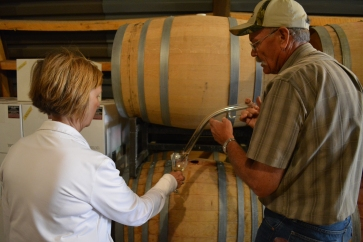 Owner Lee Bradley gives us a private barrel tasting in the cellars.