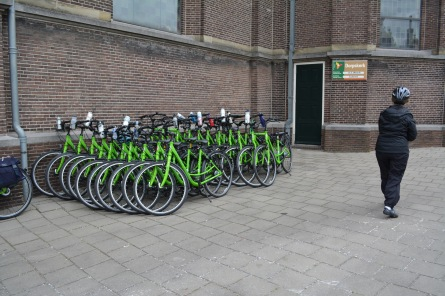 Our bikes racked by the church.