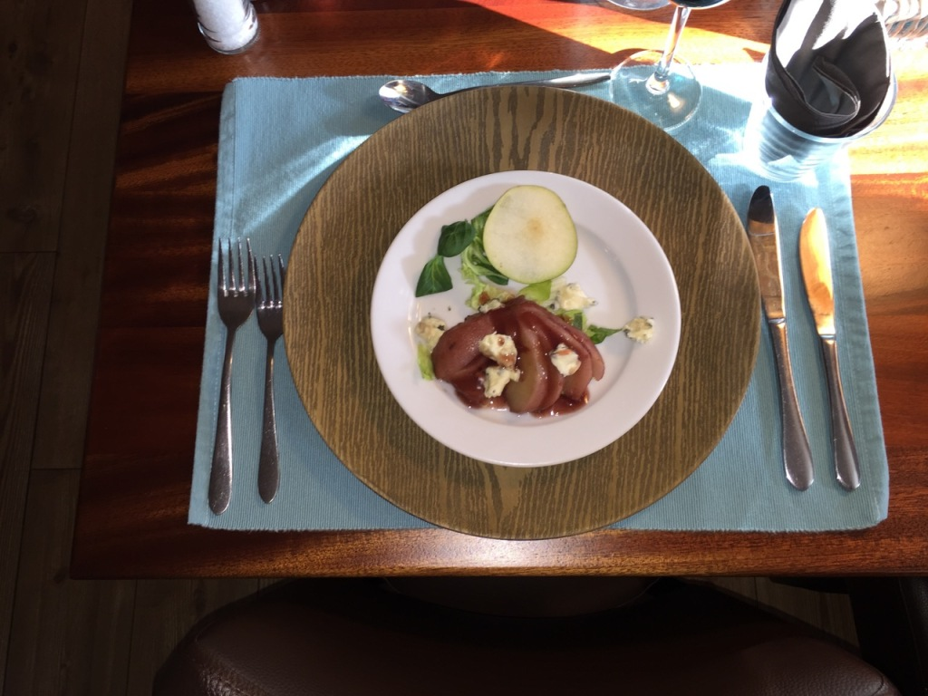 Salad: sliced pears cooked in port with blue cheese.