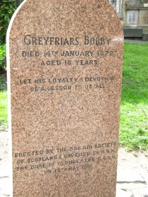 Bobby's gravestone at the Greyfriars Kirk (church).
