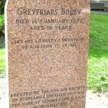 Bobby's gravestone at the Greyfriars Kirk (church).