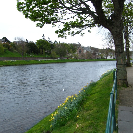 River in front of The Columba Hotel.