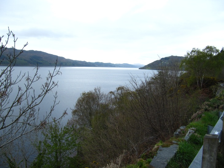 Loch Ness. Uruquat Castle on the point at right.