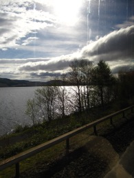 Loch Lomond, the photo 'polarized' by the window of the bus.